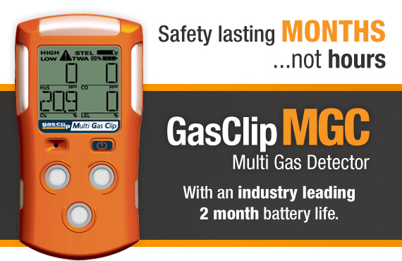 The New GasClip MGC Multi Gas Detector is a revolutionary gas detector with a battery life of 2 months on a single charge.