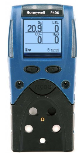 BW 54-53-A10145280AD PhD6 O2/HCN/PID/LEL/Duo-Tox (H2S/CO) Multi-Gas Detector, Alkaline Batteries, Datalogging-